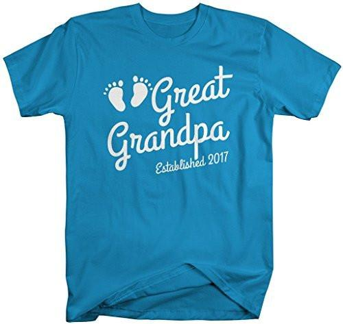 Shirts By Sarah Men's Great Grandpa Established 2017 T-Shirt Baby Feet Cute Shirts-Shirts By Sarah