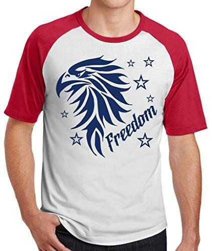 Shirts By Sarah Men's Freedom Eagle 4th July Independence Day Raglan T-Shirt-Shirts By Sarah