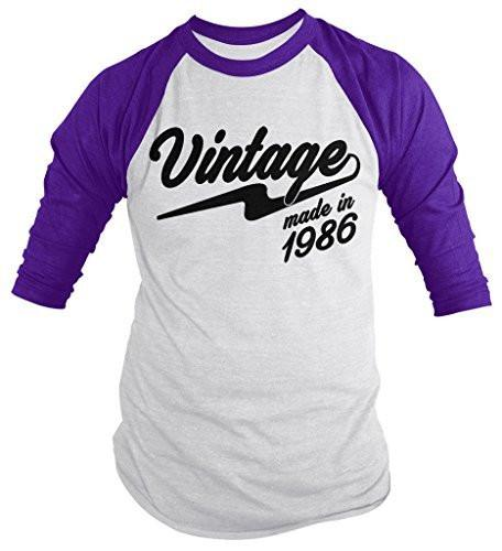 Shirts By Sarah Men's Vintage Made In 1986 30th Birthday Raglan Retro 3/4 Sleeve Shirts-Shirts By Sarah