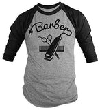 Shirts By Sarah Men's Barber Shirts Hair Clippers 3/4 Sleeve Raglan Shirt-Shirts By Sarah