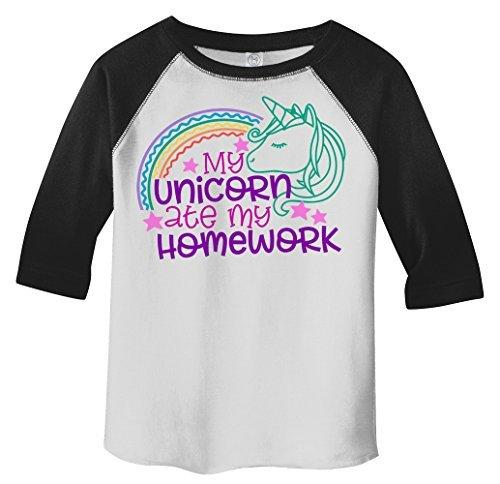 Shirts By Sarah Girl's Funny Unicorn Ate Homework 3/4 Sleeve Raglan T-Shirt-Shirts By Sarah