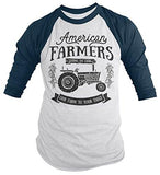 Men's Vintage Farmer T-Shirt American Farmers Tractor Tee Farm to Table 3/4 Sleeve Raglan-Shirts By Sarah