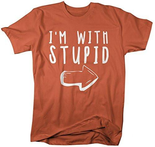 Shirts By Sarah Men's Funny I'm With Stupid T-Shirt Insulting Arrow Shirts-Shirts By Sarah