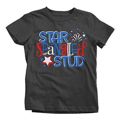 Shirts By Sarah Boy's Star Spangled Stud Firework T-Shirt Toddler Tee Shirts-Shirts By Sarah