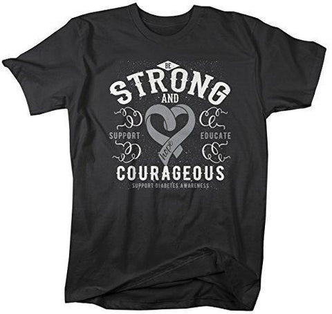 Shirts By Sarah Men's Strong & Courageous Diabetes Awareness T-Shirt Gray Ribbon-Shirts By Sarah