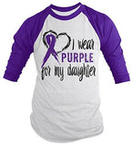 Shirts By Sarah Men's Purple Ribbon Shirt Wear For Daughter 3/4 Sleeve Raglan Awareness Shirts-Shirts By Sarah