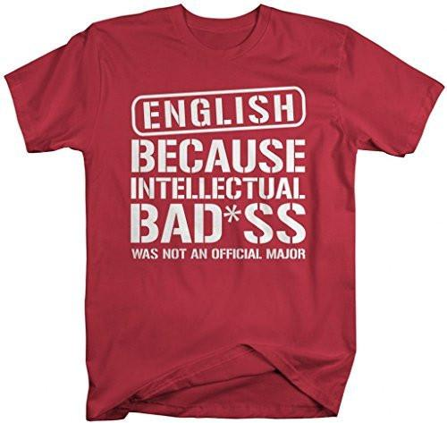 Shirts By Sarah Men's Unisex English T-Shirt Intellectual Bad*ss Funny Shirts-Shirts By Sarah