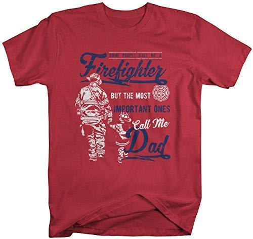 Shirts By Sarah Men's Firefighter Dad T-Shirt Important People Call Me Tee-Shirts By Sarah