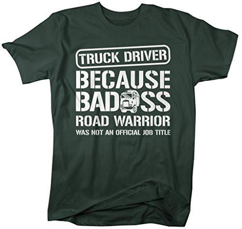Shirts By Sarah Men's Funny Truck Driver T-Shirt Bad*ss Road Warrior Shirts-Shirts By Sarah