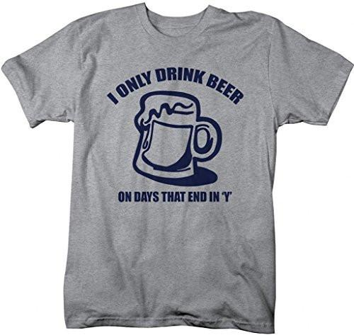 Shirts By Sarah Men's Funny Beer Drinker T-Shirt Drink On Days End In 'Y' Shirts-Shirts By Sarah
