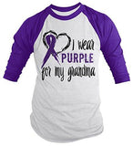 Shirts By Sarah Men's Purple Ribbon Shirt Wear For Grandma 3/4 Sleeve Raglan Awareness Shirts - Purple/white / XX-Large - 2