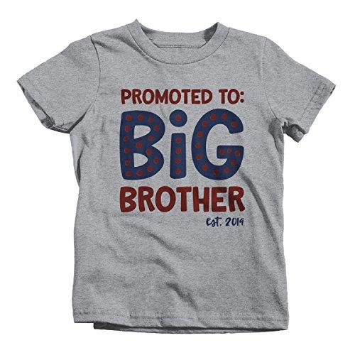 Boy's Promoted to Big Brother EST. 2019 Baby Reveal T-Shirt Cute Shirt-Shirts By Sarah