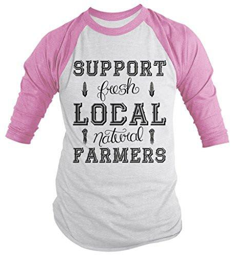 Shirts By Sarah Men's Support Local Farmers 3/4 Sleeve Raglan Shirt Fresh Natural Farming-Shirts By Sarah
