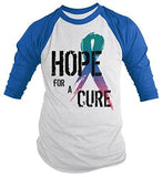 Shirts By Sarah Men's Hope For Cure Thyroid Shirt 3/4 Sleeve Awareness Ribbon Shirts - Royal/White / XX-Large - 3