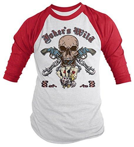 Shirts By Sarah Men's Joker's Wild Skull T-Shirt 3/4 Sleeve Gambling Gun Shirts-Shirts By Sarah
