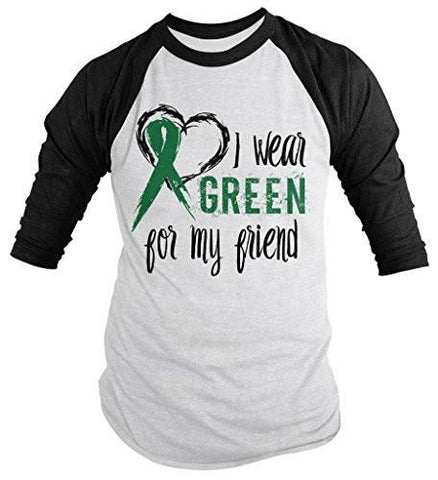 Shirts By Sarah Men's Green Ribbon Shirt Wear For Friend 3/4 Sleeve Raglan Awareness Shirts - Black/White / XX-Large - 1