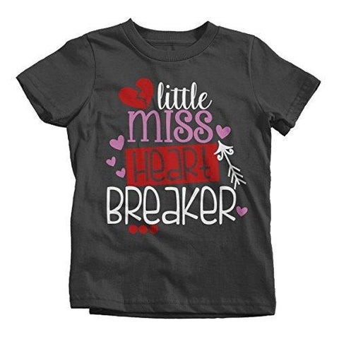 Shirts By Sarah Girl's Little Miss Heart Breaker Funny Valentines Day T-Shirt-Shirts By Sarah