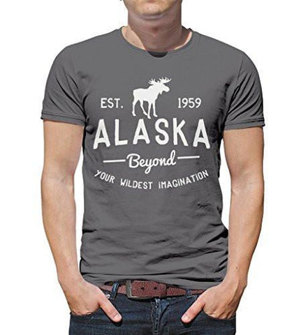 Shirts By Sarah Men's Alaska State T-Shirt Beyond Your Imagination Moose Ring Spun Cotton-Shirts By Sarah