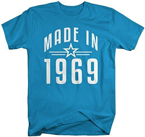 Shirts By Sarah Men's Made In 1969 Birthday T-Shirt Retro Star Custom Shirts-Shirts By Sarah