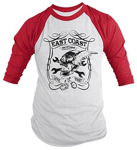 Shirts By Sarah Men's East Coast Motors Biker T-Shirt Skull Wrench Shirt-Shirts By Sarah