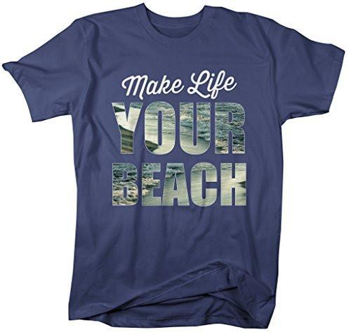 Shirts By Sarah Men's Hipster Tee Funny Make Life Your Beach T-Shirt-Shirts By Sarah