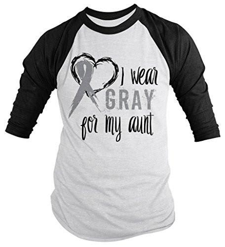 Shirts By Sarah Men's Wear Gray For Aunt 3/4 Sleeve Brain Cancer Asthma Diabetes Awareness Ribbon Shirt-Shirts By Sarah