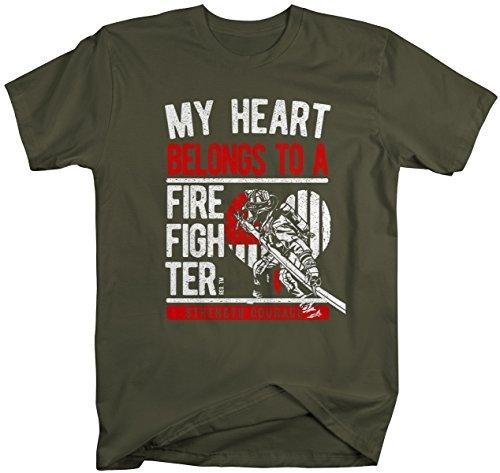 Shirts By Sarah Unisex Heart Belongs To Firefighter Proud Flag T-Shirt-Shirts By Sarah