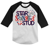 Shirts By Sarah Boy's Star Spangled Stud Firework T-Shirt Toddler Tee 3/4 Sleeve Raglan-Shirts By Sarah