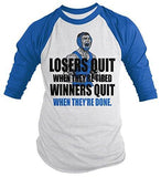 Shirts By Sarah Men's Wrestling Shirt Winners Quit When Done 3/4 Sleeve Raglan Shirts-Shirts By Sarah