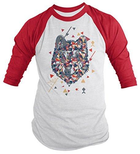 Shirts By Sarah Men's Geometric Hipster Wolf 3/4 Sleeve T-Shirt Wolves Raglan Shirt-Shirts By Sarah