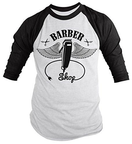 Shirts By Sarah Men's Barber Clippers Wings Clippers 3/4 Sleeve Raglan Shirt For Barbers-Shirts By Sarah