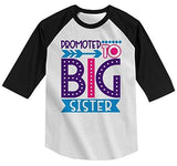 Shirts By Sarah Girl's Toddler Promoted to Big Sister Dotty T-Shirt Cute Shirt Promoted to T-Shirt 3/4 Sleeve Raglan-Shirts By Sarah