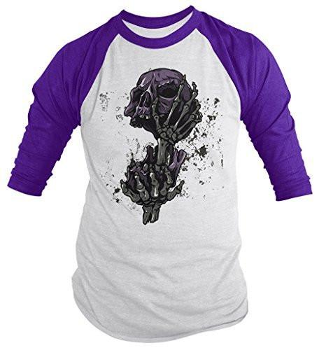 Shirts By Sarah Men's Skull Shirts Grunge Halloween 3/4 Sleeve Raglan Shirts-Shirts By Sarah
