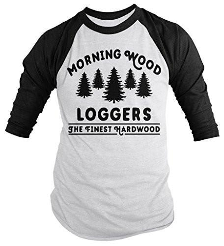 Shirts By Sarah Men's Funny Offensive Lumberjack Shirt Morning Wood Loggers 3/4 Sleeve Shirts-Shirts By Sarah