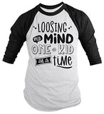 Men's Funny Mom T-Shirt Loosing My Mind One Kid Time Mother's Day Tee 3/4 Sleeve Raglan-Shirts By Sarah