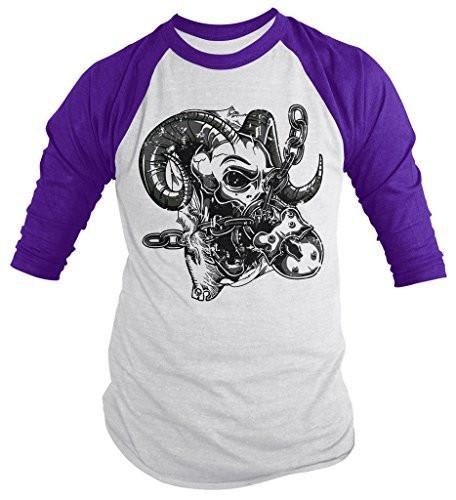Shirts By Sarah Men's Horned Skull T-Shirt 3/4 Sleeve Raglan-Shirts By Sarah