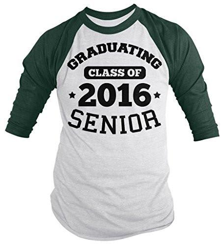 Shirts By Sarah Men's Graduating Class 2016 Senior Graduate Shirt 3/4 Sleeve Raglan-Shirts By Sarah