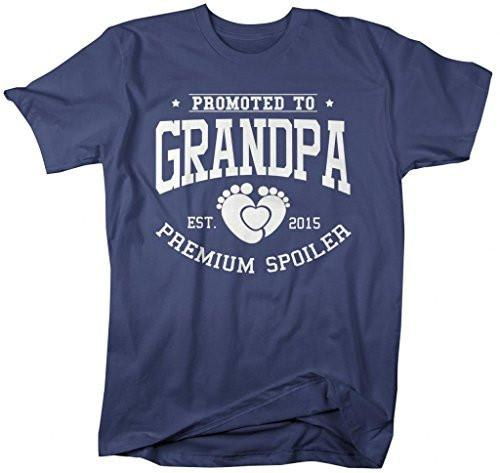 Shirts By Sarah Men's Promoted To Grandpa T-Shirt Premium Spoiler Est. 2015 Shirts-Shirts By Sarah