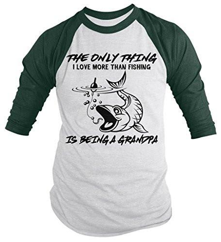 Shirts By Sarah Men's Love Fishing Being A Grandpa Fisherman 3/4 Sleeve Raglan Shirt-Shirts By Sarah