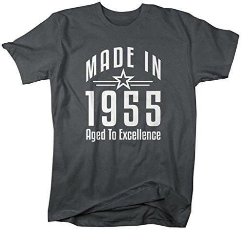 Shirts By Sarah Men's Made In 1955 Birthday T-Shirt Aged To Excellence Shirts-Shirts By Sarah