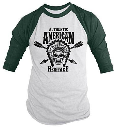 Shirts By Sarah Men's Authentic American Heritage Shirt Native American 3/4 Sleeve Raglan Shirts-Shirts By Sarah