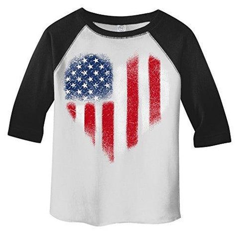 Shirts By Sarah Boy's American Heart Flag T-Shirt 4th July Distressed Tee 3/4 Sleeve Raglan-Shirts By Sarah