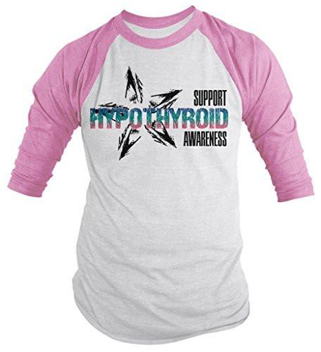 Shirts By Sarah Men's Support Hypothroid Awareness Shirt 3/4 Sleeve Raglan Shirts-Shirts By Sarah