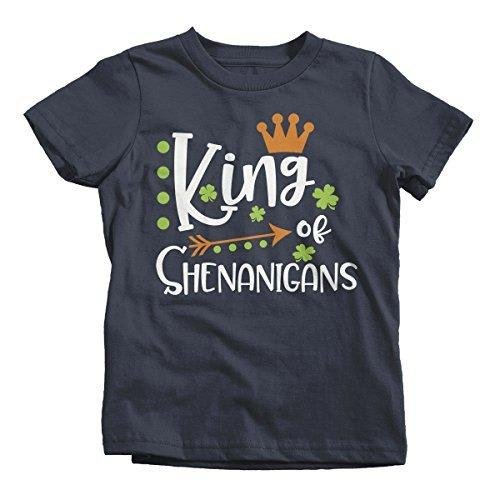 Shirts By Sarah Boy's King Of Shenanigans Funny T-Shirt ST. Patrick's Day Toddler Tee-Shirts By Sarah