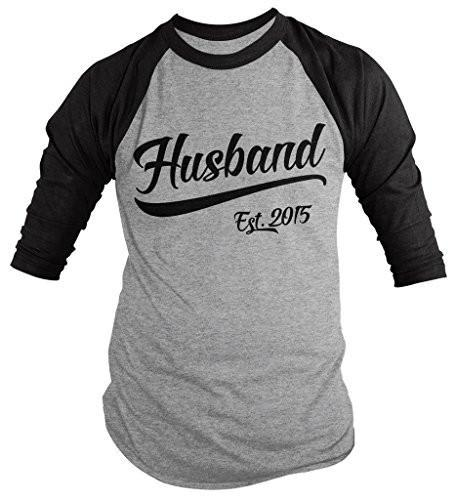 Shirts By Sarah Men's Husband Est. 2015 Shirt Wedding Anniversary 3/4 Sleeve Raglan Shirts-Shirts By Sarah