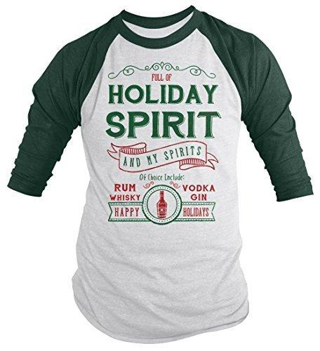 Shirts By Sarah Men's Funny Holiday Spirit Drinking 3/4 Sleeve Raglan Vodka-Shirts By Sarah