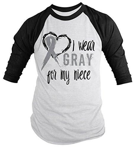 Shirts By Sarah Men's Wear Gray For Niece 3/4 Sleeve Brain Cancer Asthma Diabetes Awareness Ribbon Shirt-Shirts By Sarah
