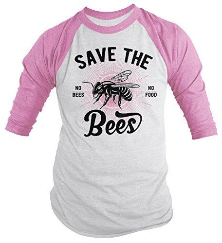 Shirts By Sarah Men's T-Shirt Save The Bees No Food Bee Keeper Gift 3/4 Sleeve Raglan-Shirts By Sarah