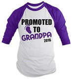Shirts By Sarah Men's Promoted To Grandpa 2016 Shirt Grandparents Baby Reveal 3/4 Sleeve Raglan Shirts - Purple/white / XX-Large - 5