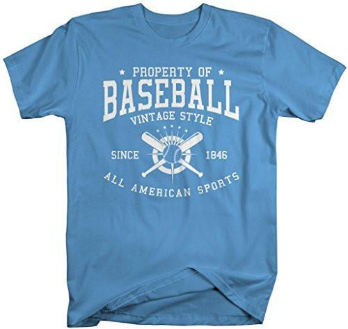 Shirts By Sarah Men's Property Of Baseball T-Shirt Sports Tees Vintage All American Shirts-Shirts By Sarah